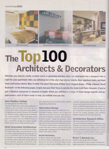 Delson or sherman architects pcnew york magazine 100 best for Top decorators new york