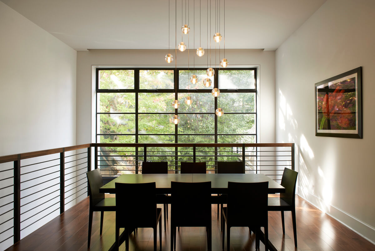 steel windows in a large brownstone addition