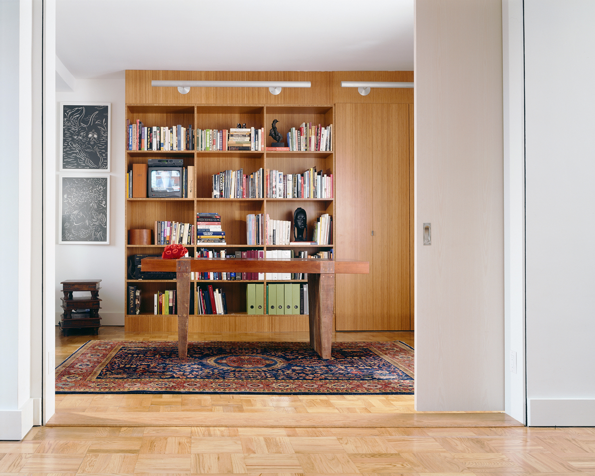 greenwich village apartment built in book shelves