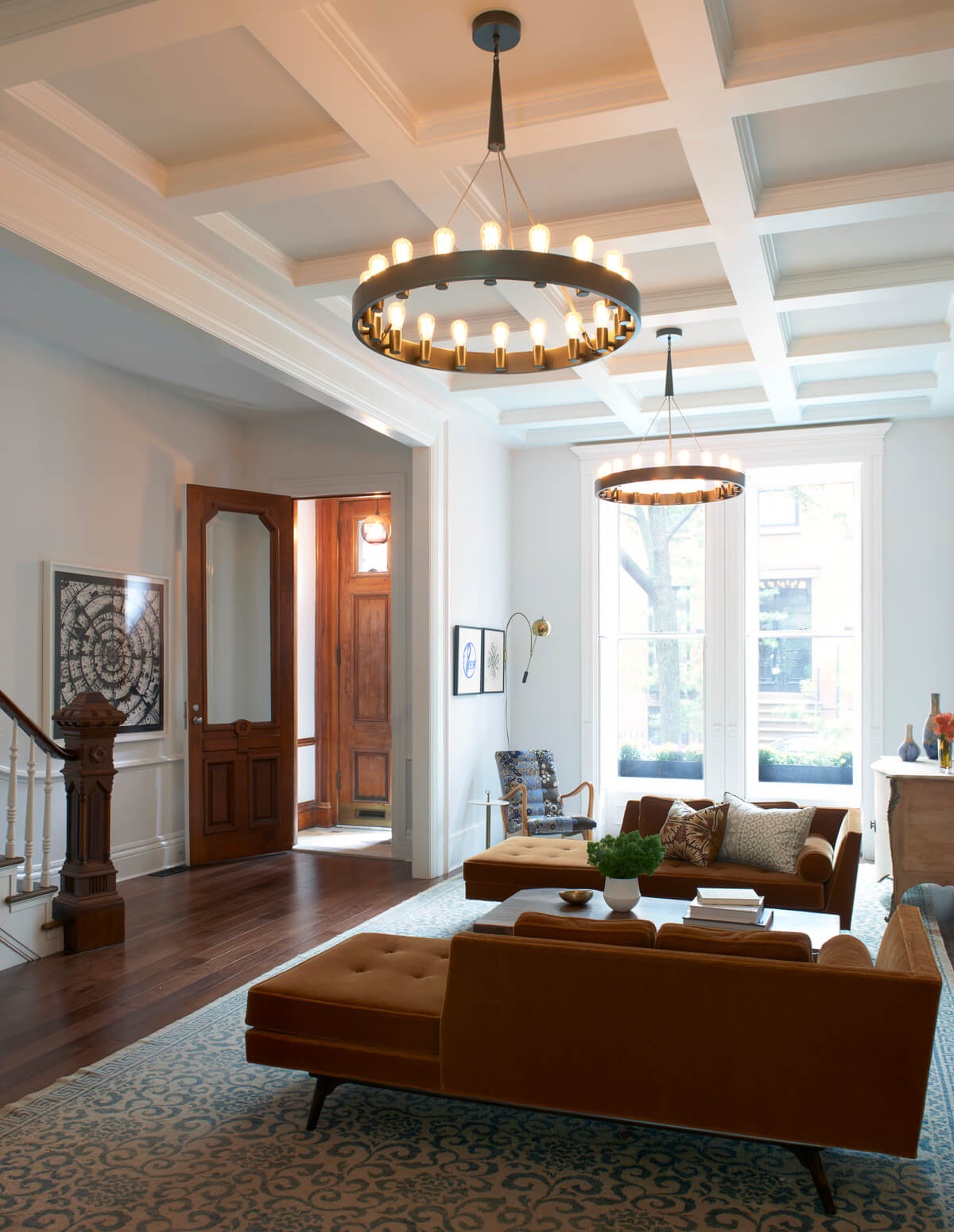 coffered ceiling and enlarged opening in Brooklyn Heights brownstone