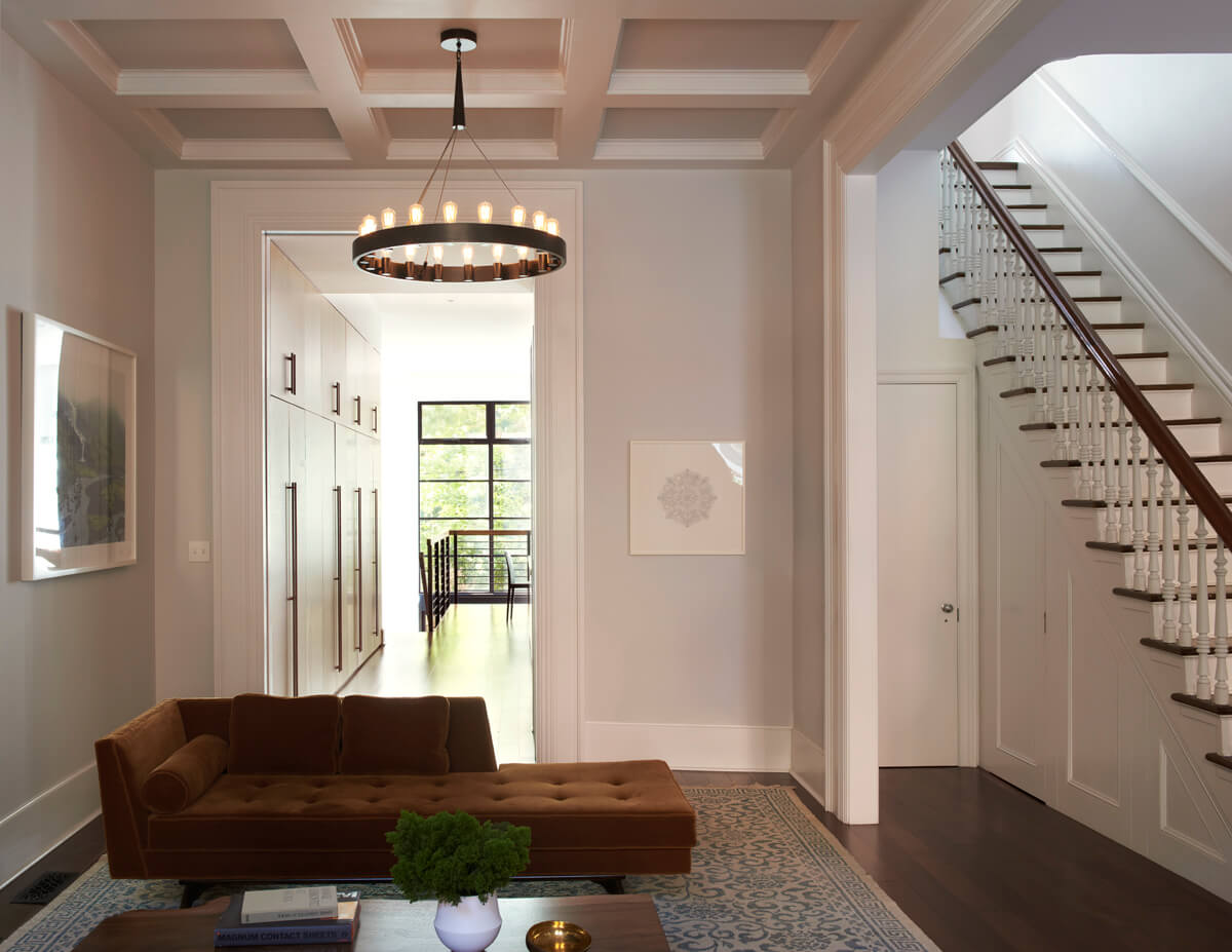 new coffered ceiling and enlarged wall opening