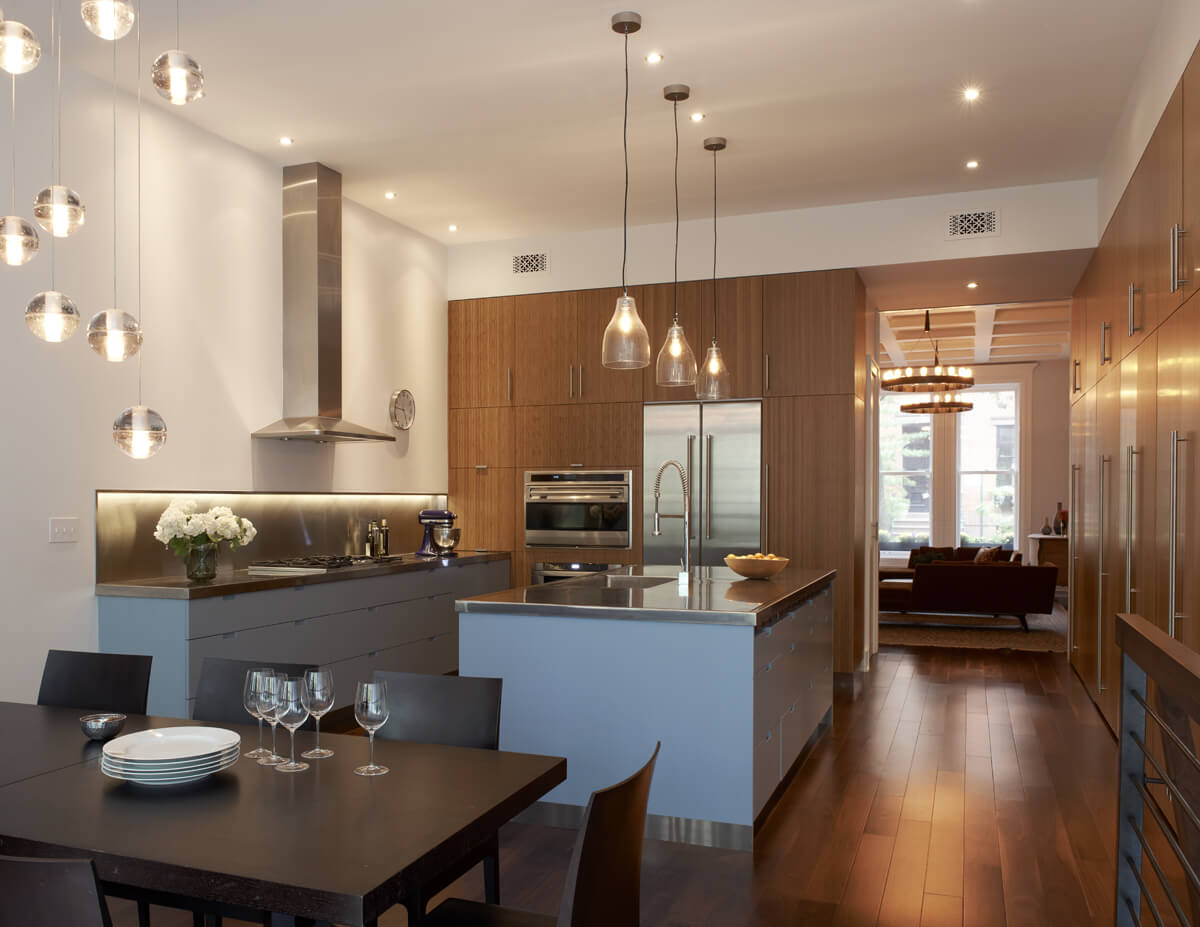 modern kitchen in bamboo and stainless steel in a renovated brownstone