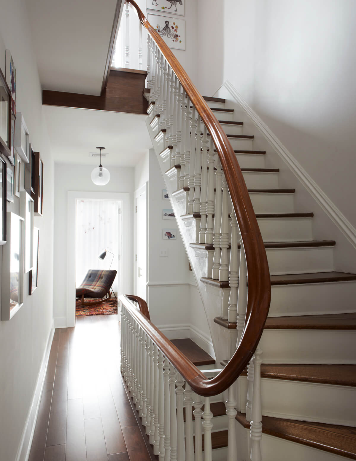 restored period stair in large brownstone addition