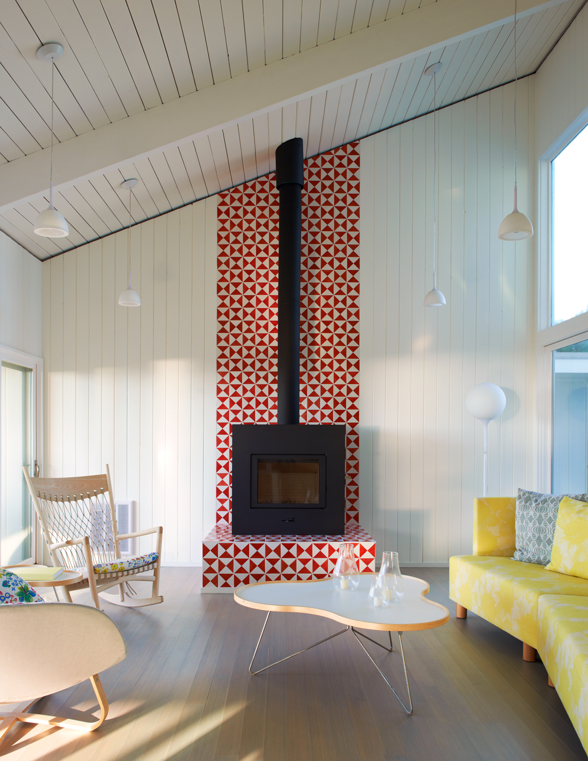Fire Island beach house -- red tile fireplace