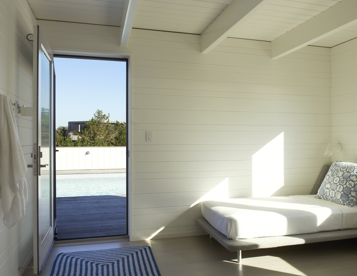 fire island house bedroom with deck