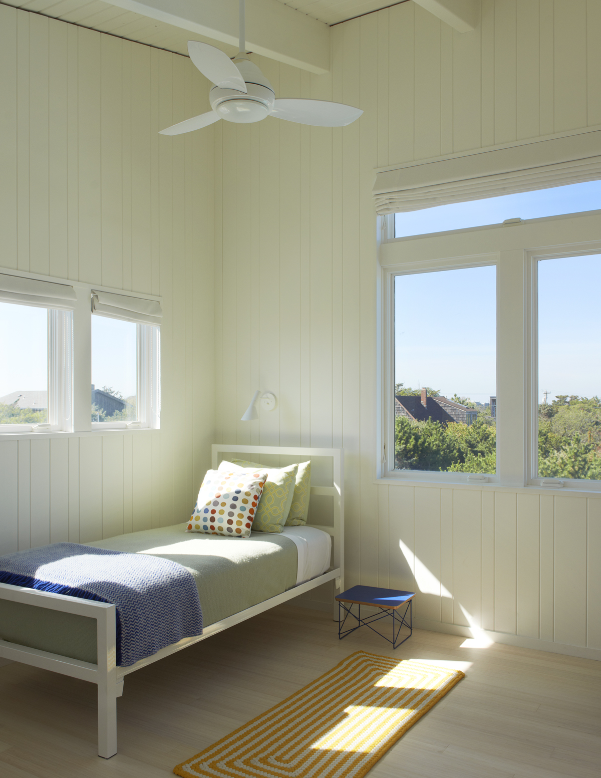 Fire Island beach house -- bedroom with deck