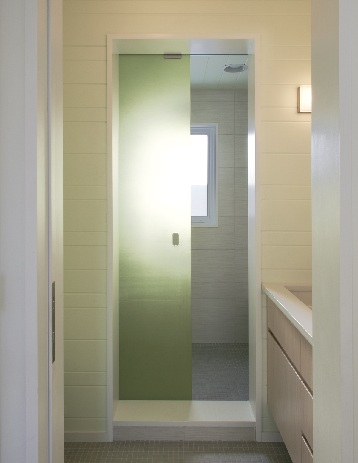 Fire Island beach house translucent sliding shower door