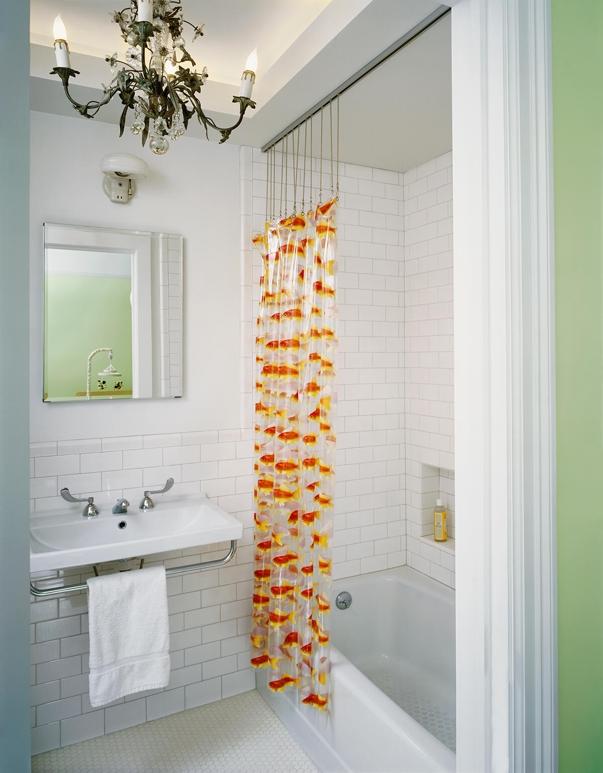 ceiling alcove for vintage chandelier in kids' bathroom