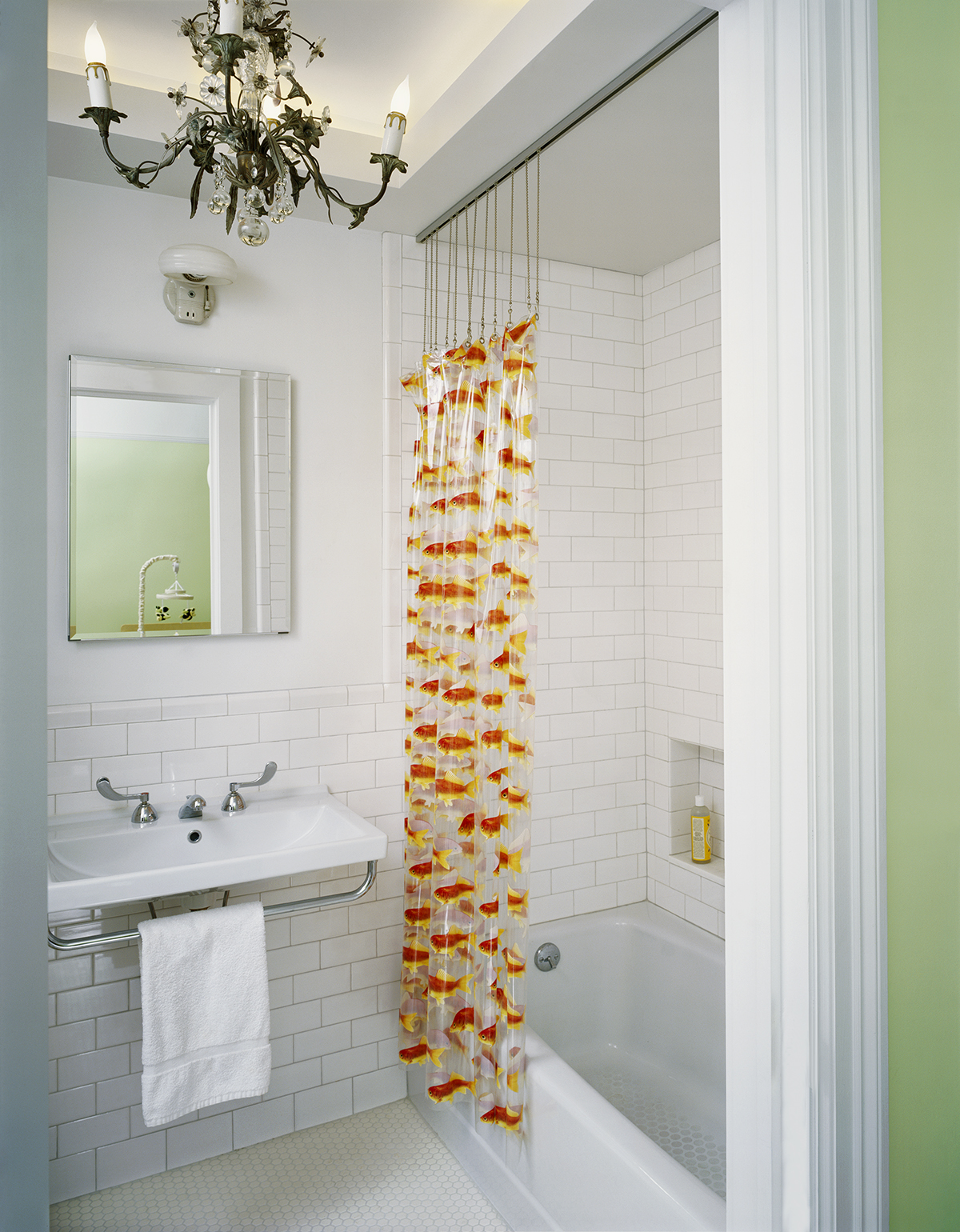 manhattan valley kids bathroom antique chandelier