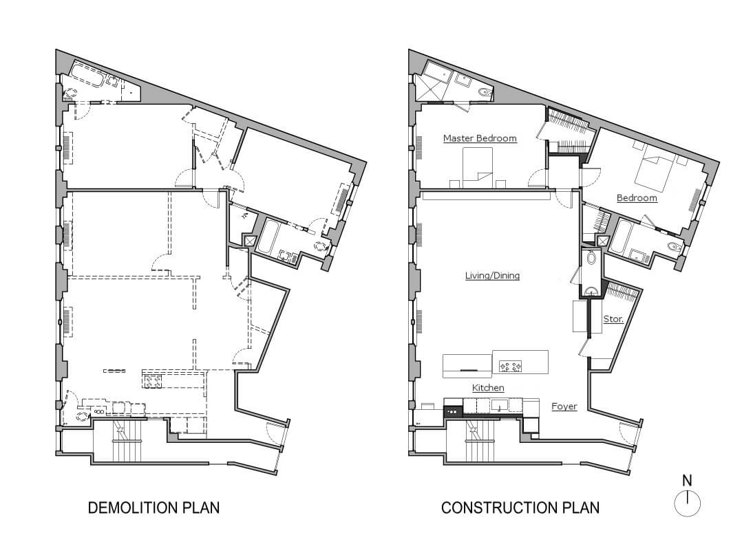floor plans for Delson or Sherman Architect's Manhattan Valley apartment