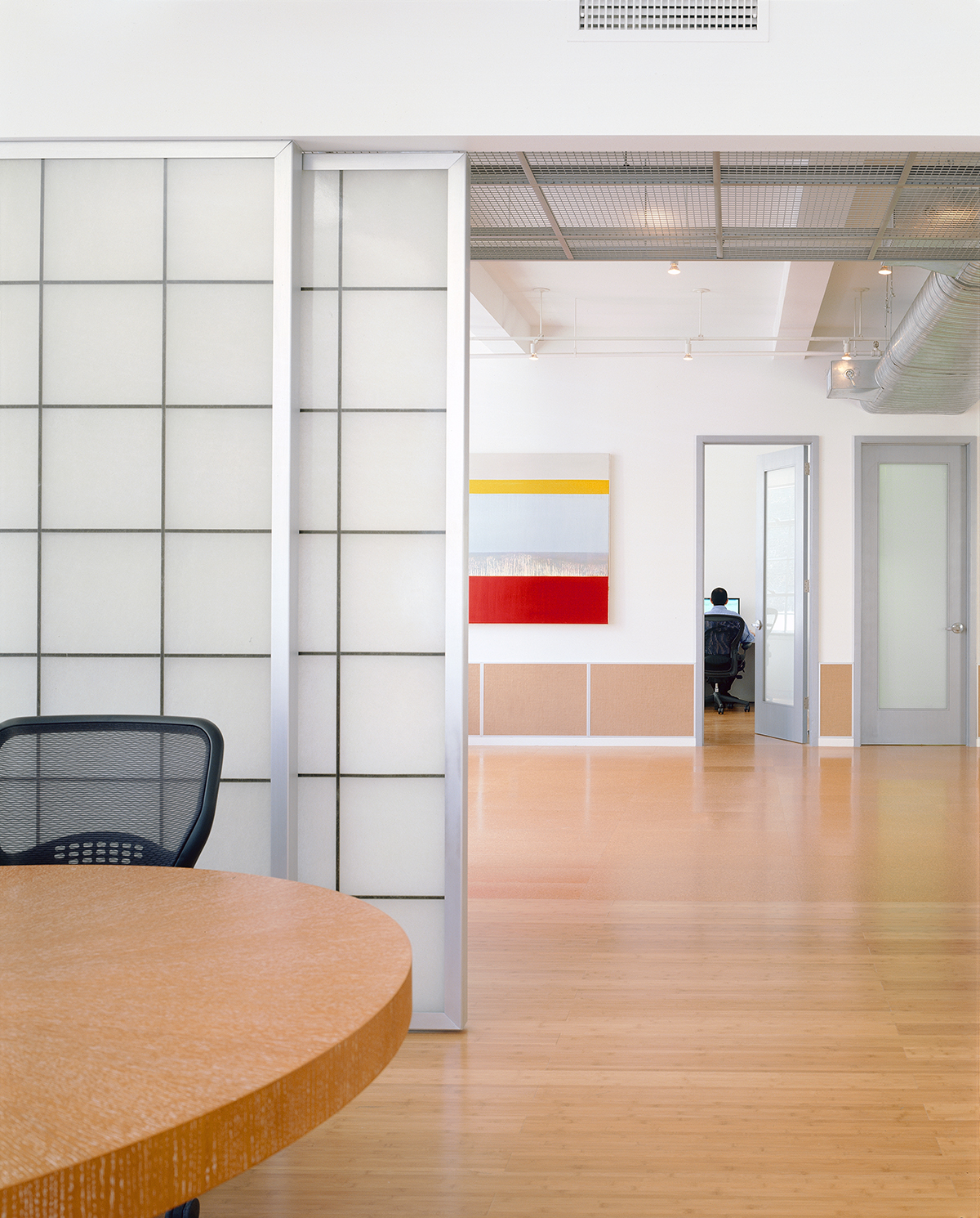 New York office renovation translucent sliding doors