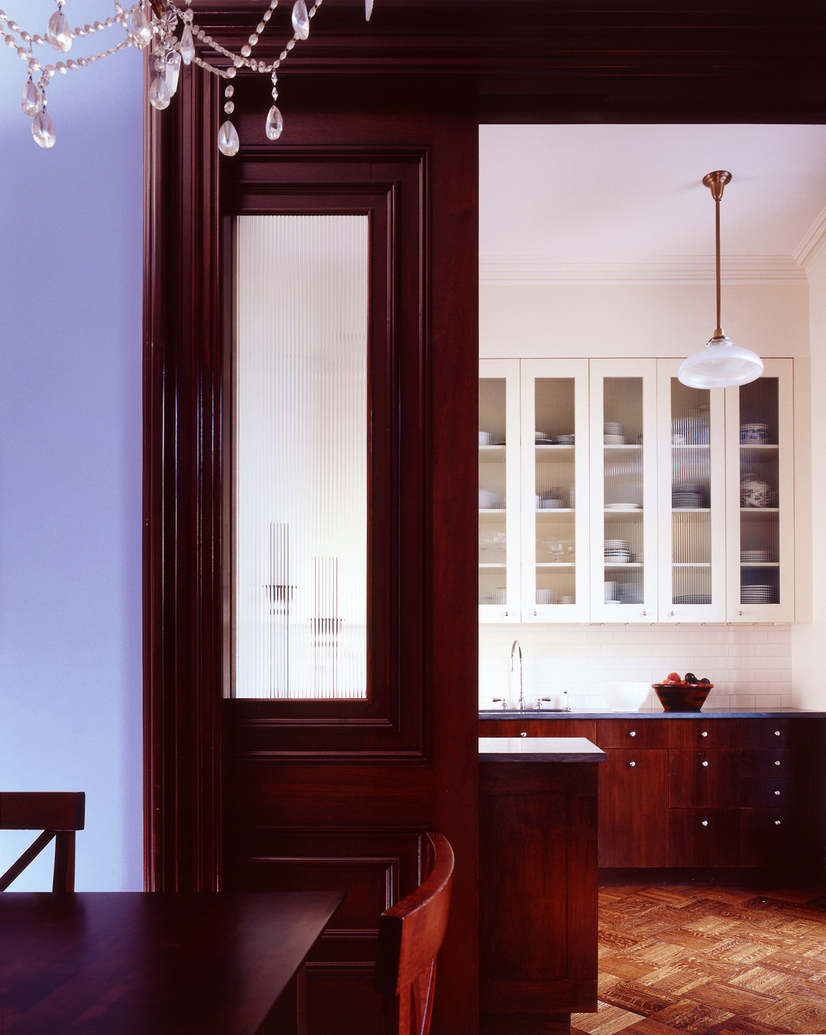 park slope brownstone kitchen dining pocket door
