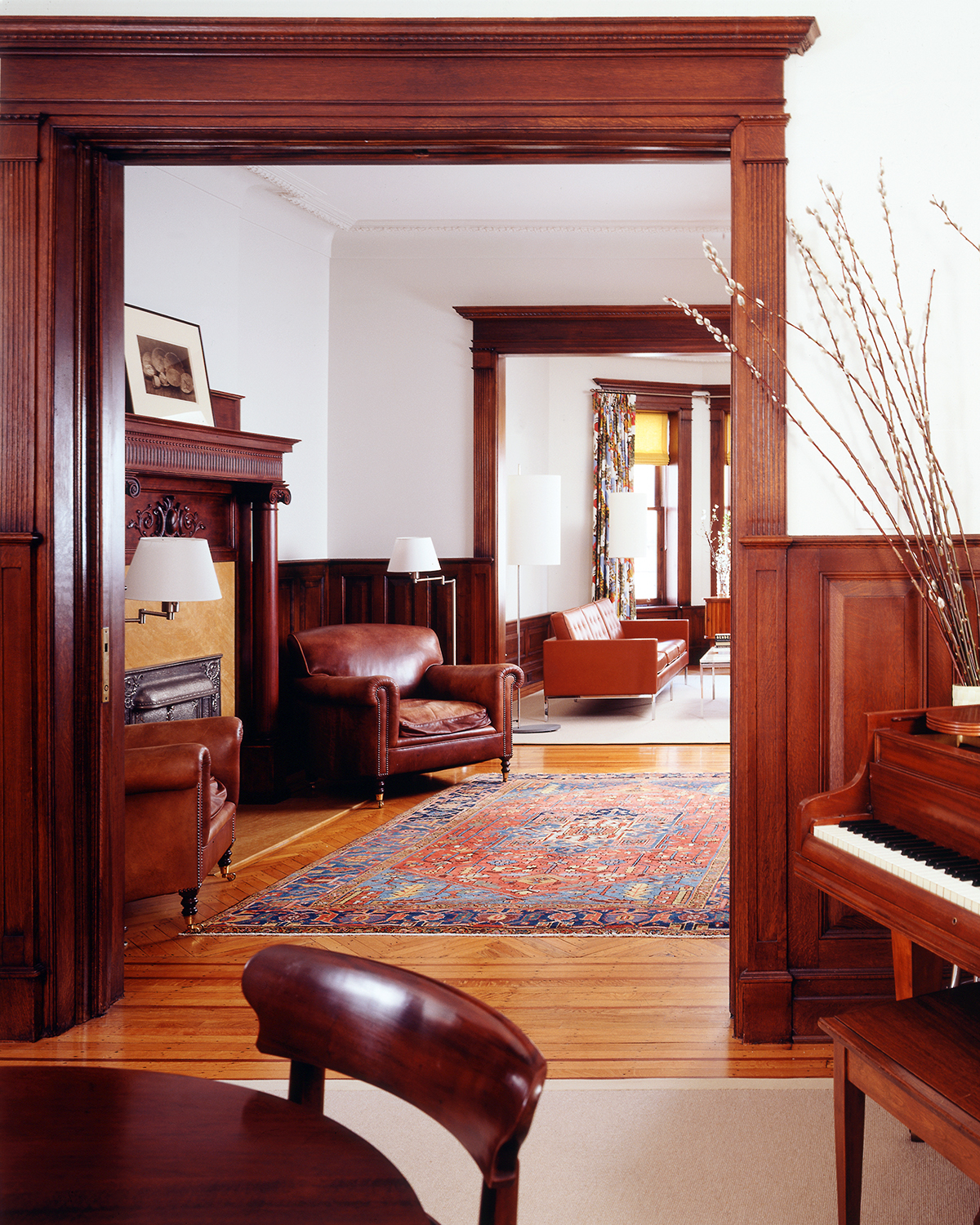 grand limestone house refurbished casings mahogany oak millwork bay window park slope brooklyn architects