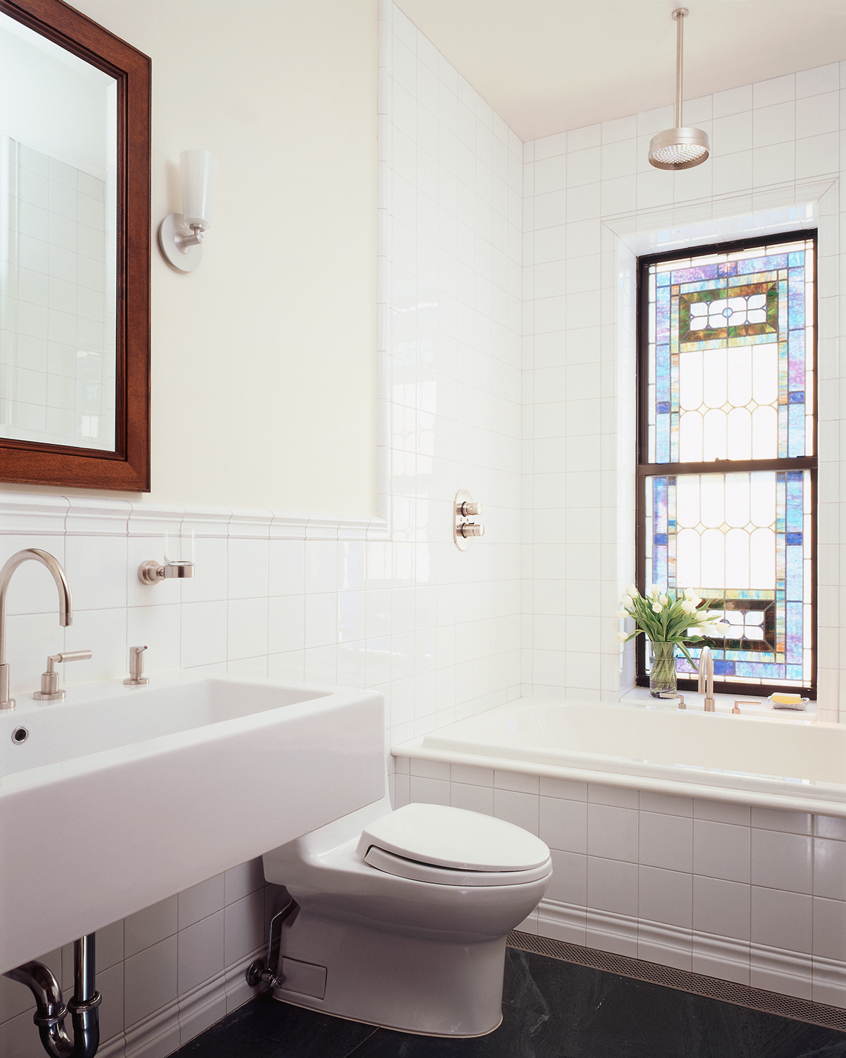 park slope limestone bathroom stained glass window brooklyn architects