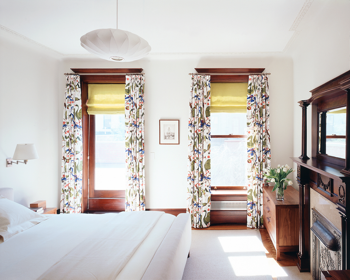 park slope limestone master bedroom mahogany oak window casings mantle brooklyn architects