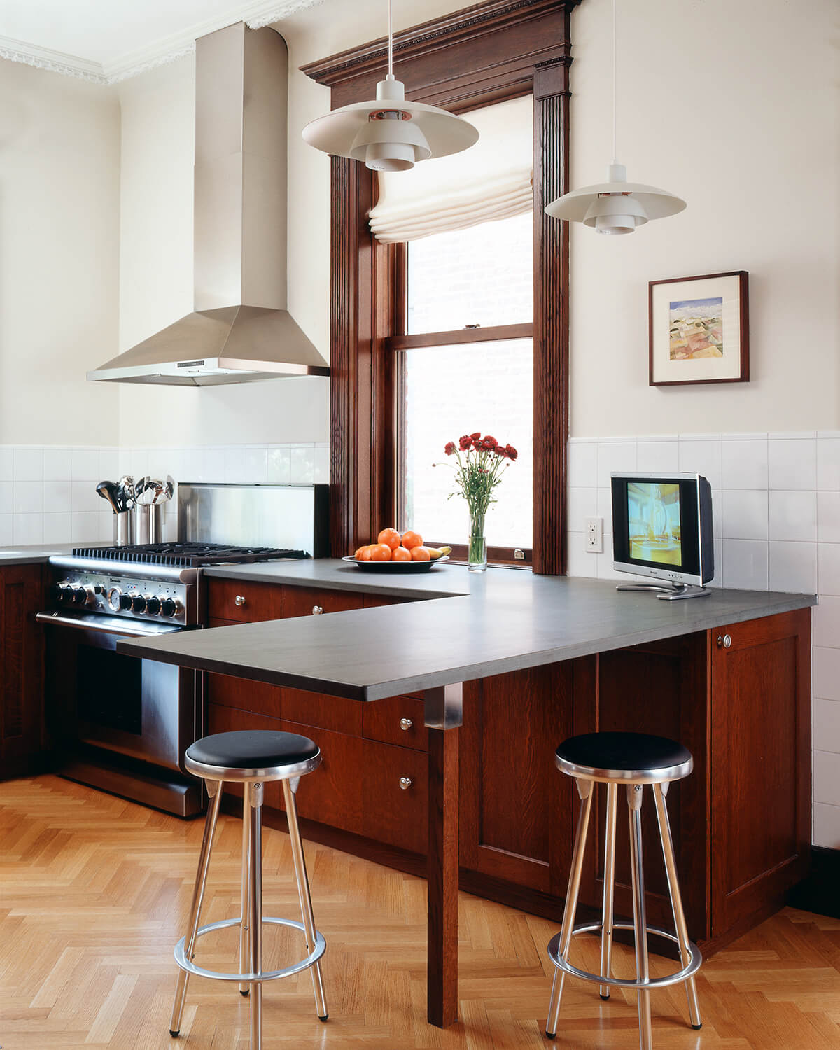 modern kitchen in a grand limestone row house in Brooklyn