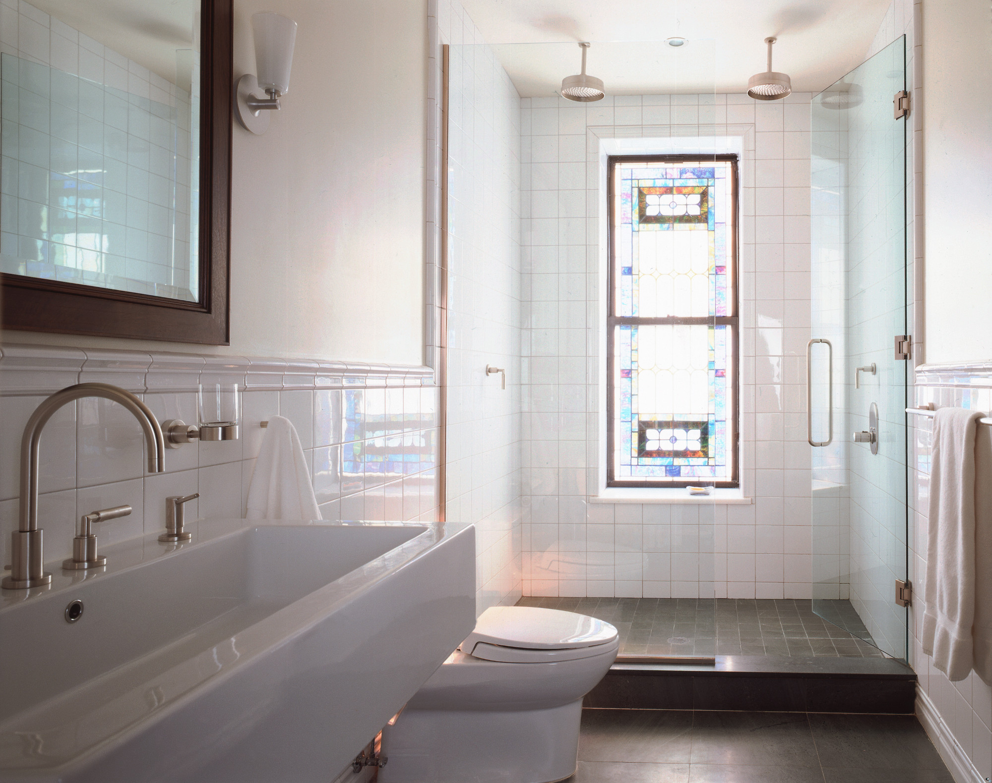 limestone house minimalist bathroom refurbished stained glass window brooklyn park slope architects