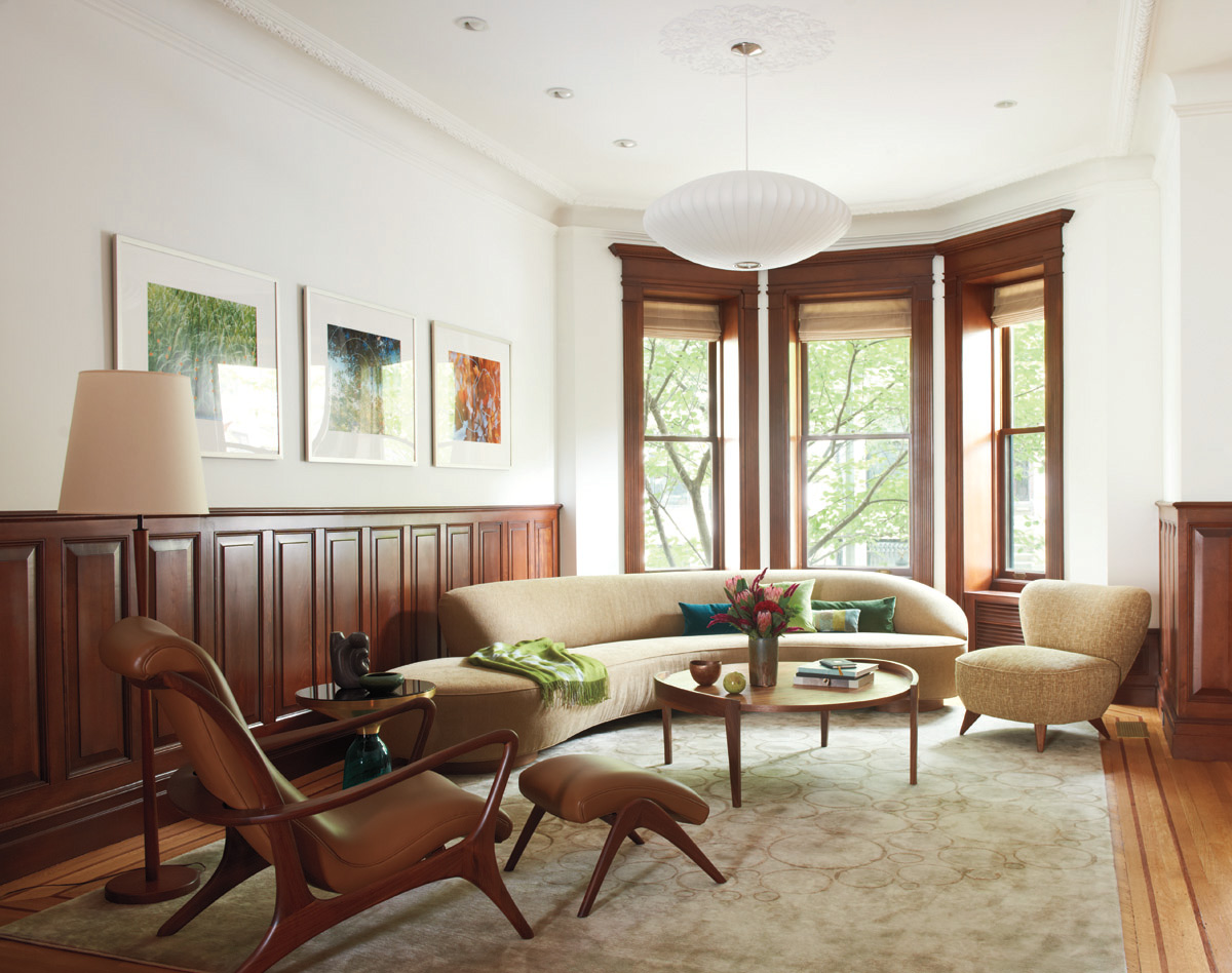 Brooklyn architects carefully restored brownstone front parlor