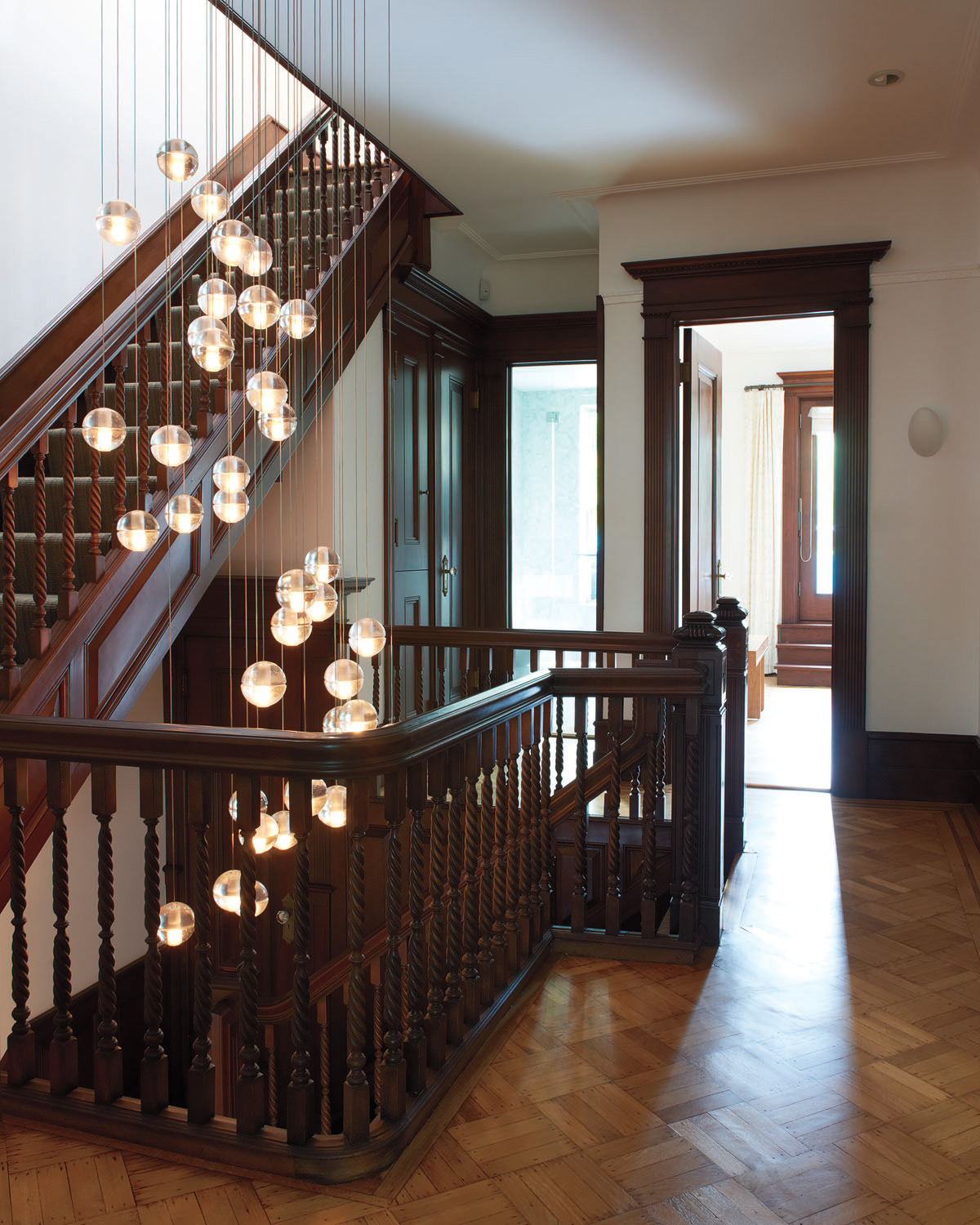 Brooklyn architects carefully restored brownstone staircase