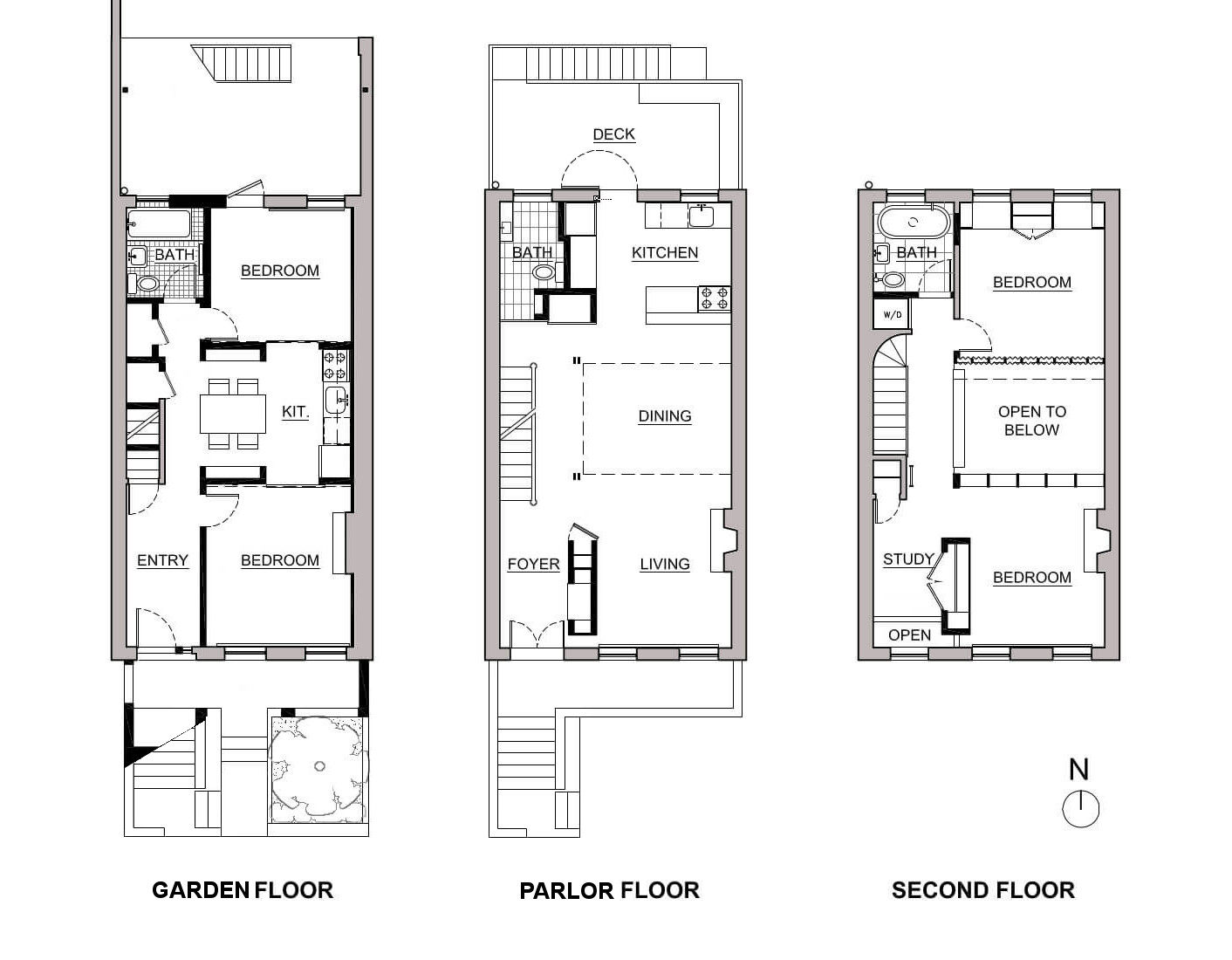 Prospect Heights row house floor plans