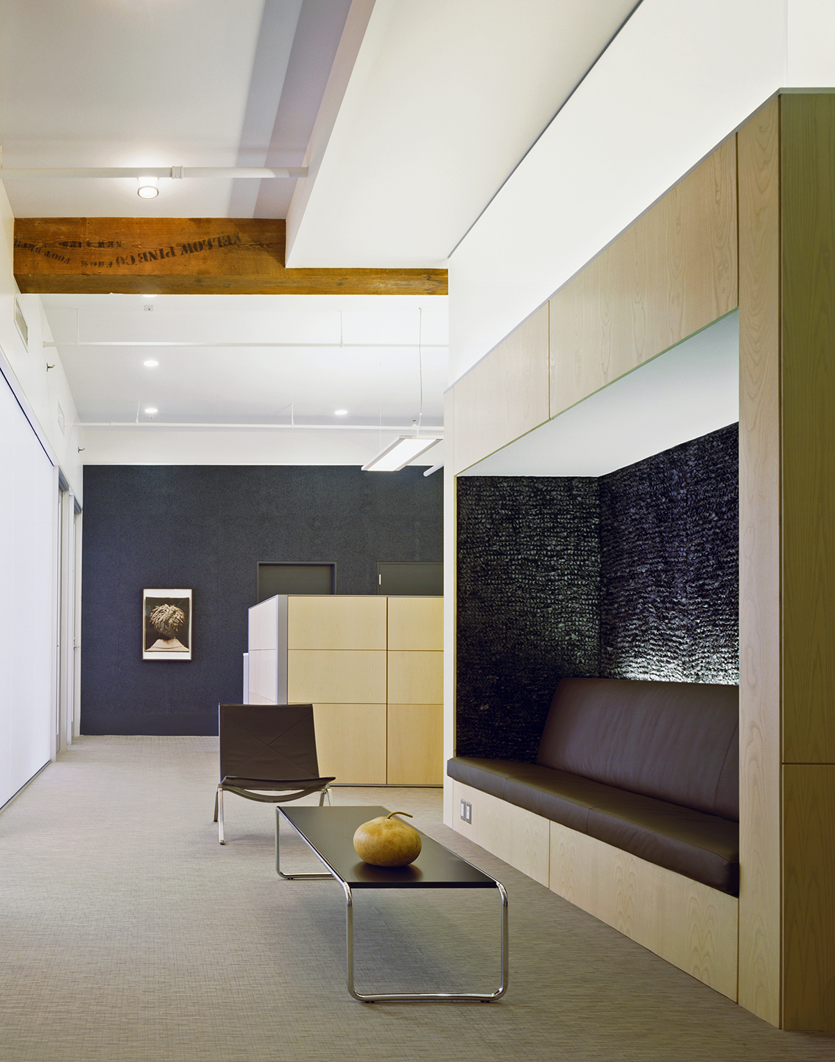 soho offices built-in banquette seating reception