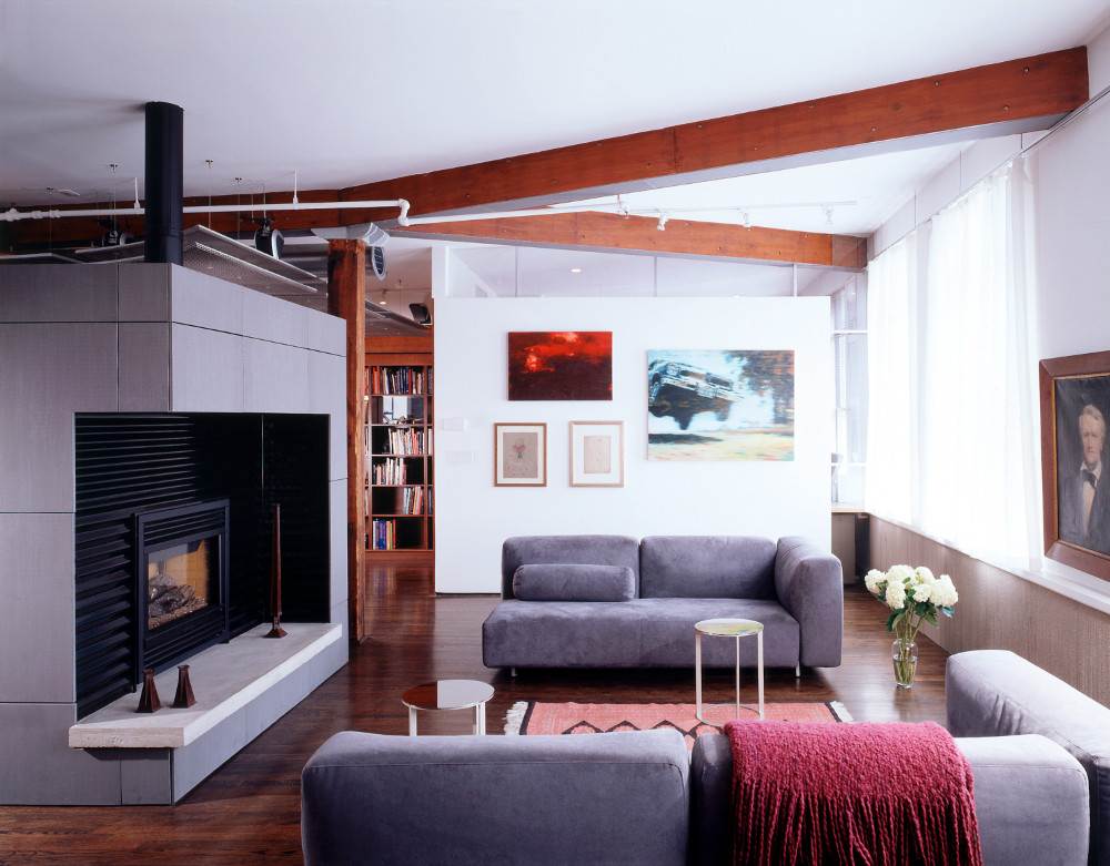 zinc cube with cutaway fireplace in Chelsea penthouse