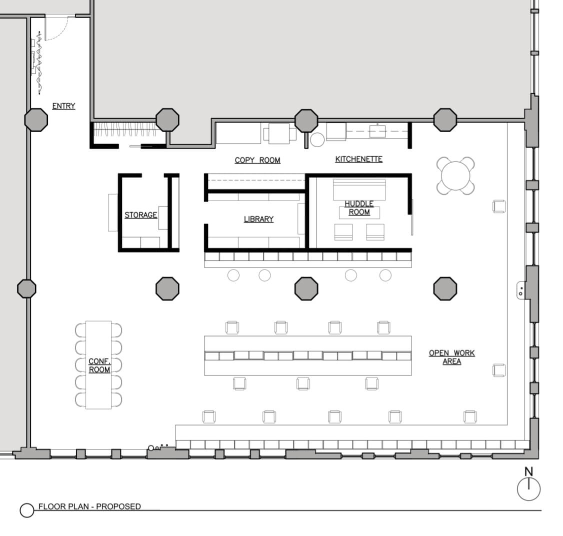 the Brooklyn offices of Delson or Sherman Architects - floor plan
