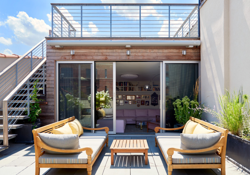 stately brownstone renovation roof decks with connecting stair