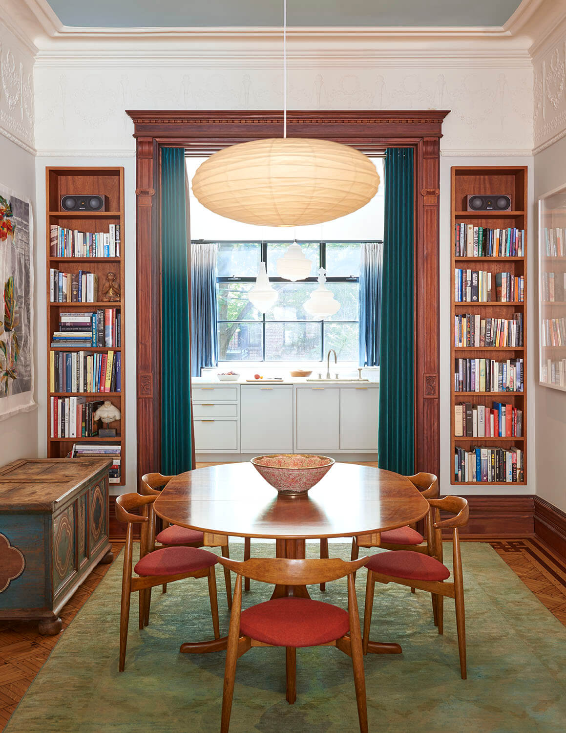 stately brownstone renovation recessed bookcases