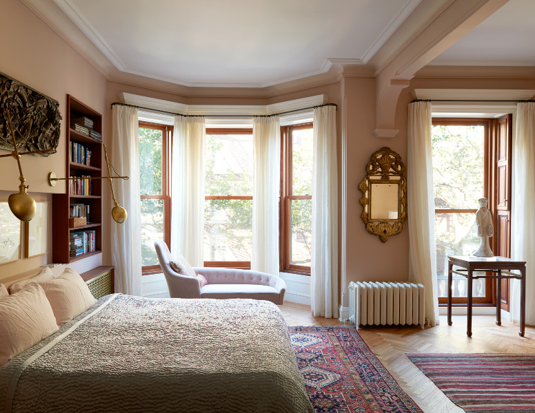 stately brownstone renovation master bedroom