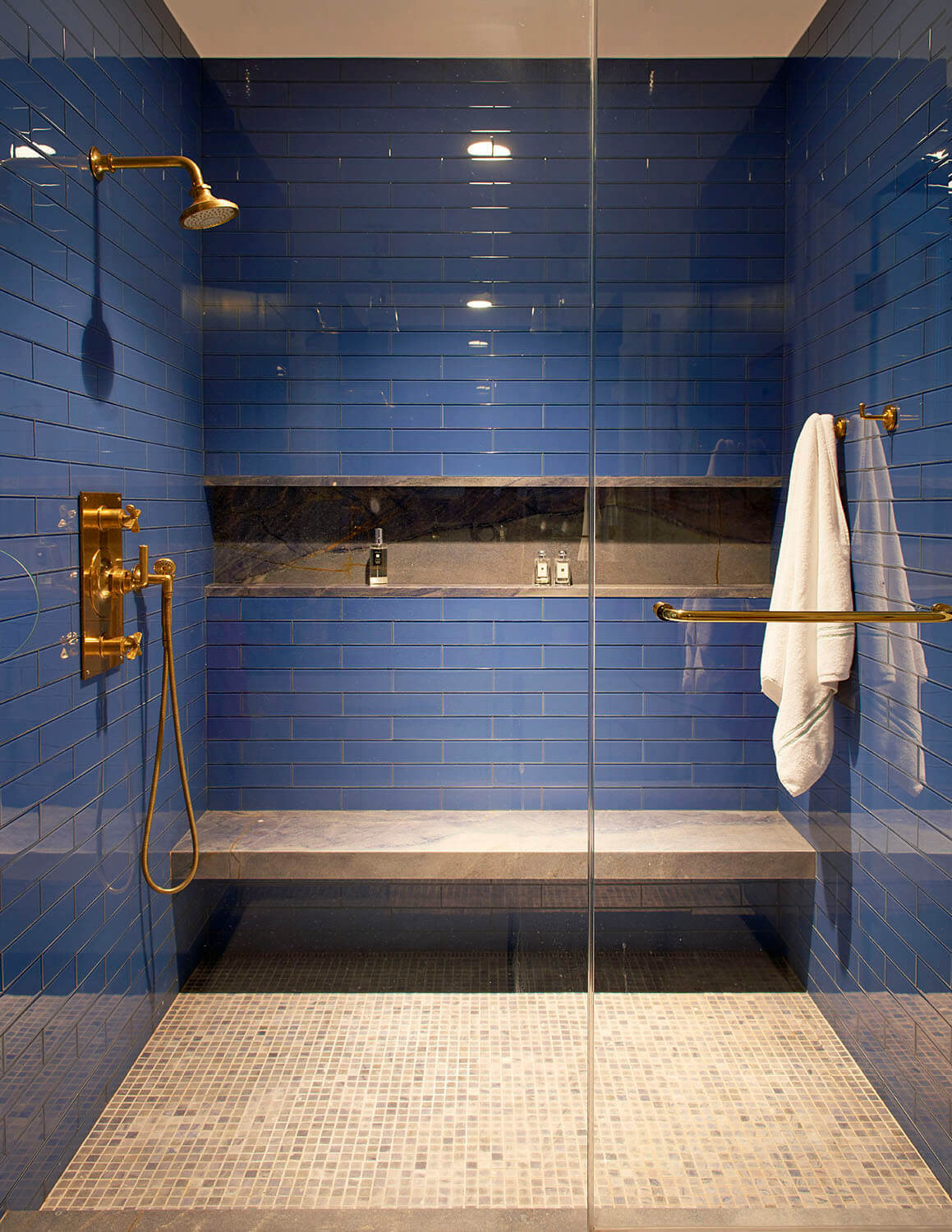 stately brownstone renovation blue shower