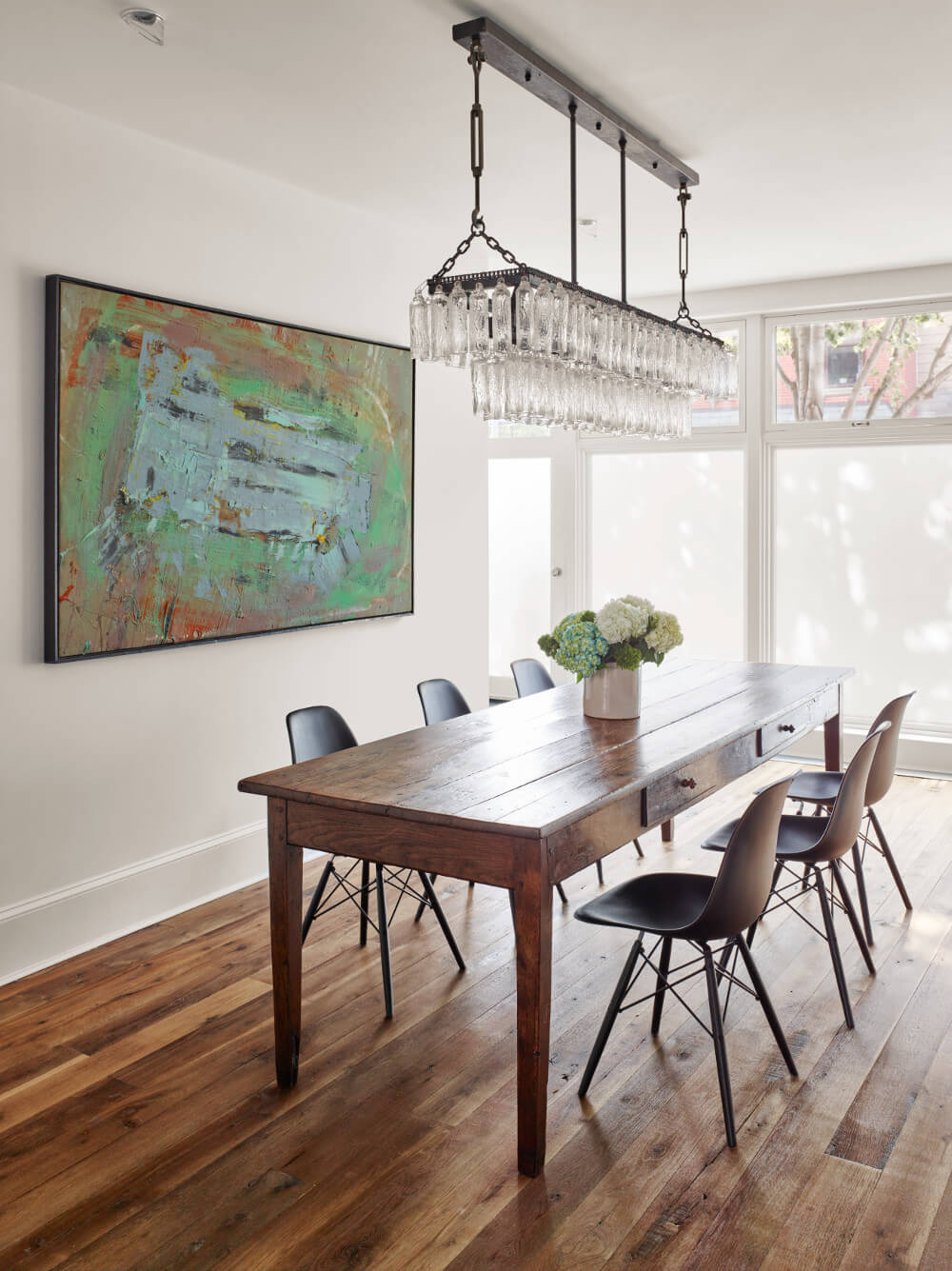 wood-framed row house dining room
