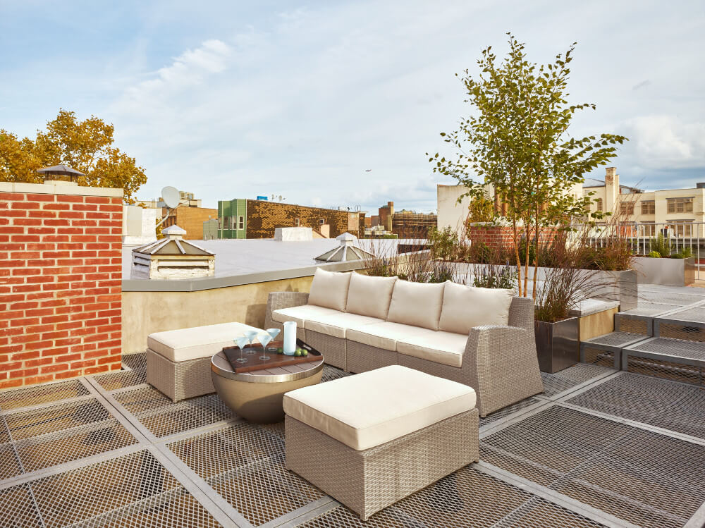 Greenpoint wood-framed row house roof deck