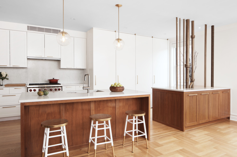apartment combinations open kitchen with exposed pipes