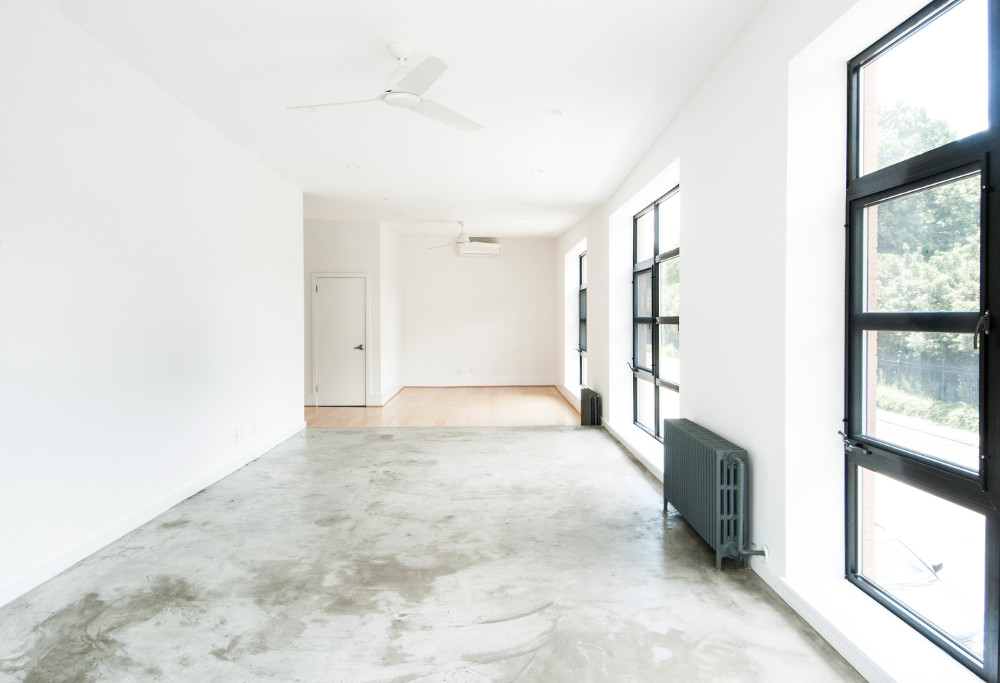 Brooklyn architects transformed the commercial building interior polished concrete