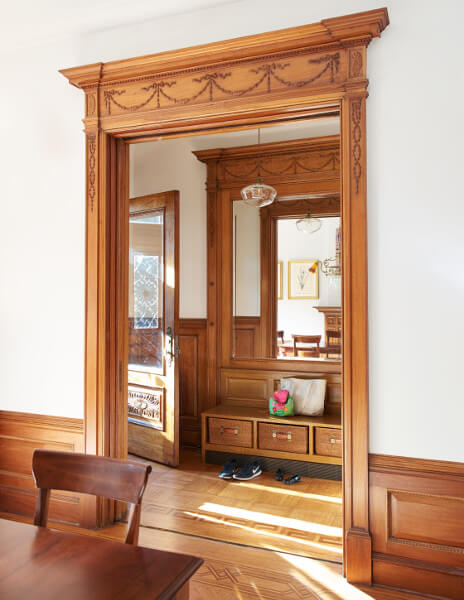Much of our focus at this Prospect Park West house went to restoring period details and replicating the original stone, woodwork, and stained glass.