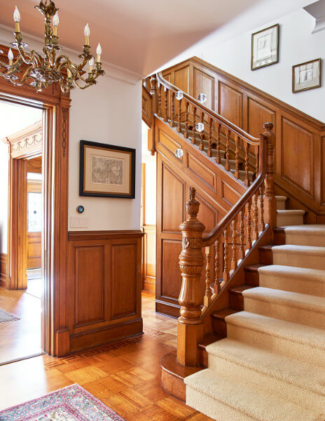Much of our focus at this Prospect Park West house went to restoring period details. A Bocci cast glass chandelier cascades down four flights of stairs.