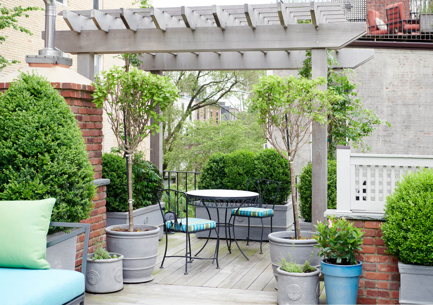 The roof deck for this Prospect Park West twin house is lushly planted with boxwoods and wisteria.