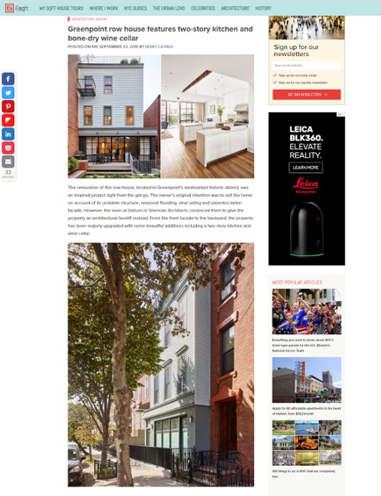 6sqft features Greenpoint row house