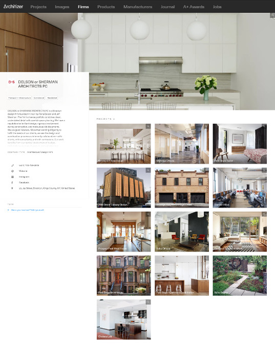 Architizer features Delson or Sherman Architects