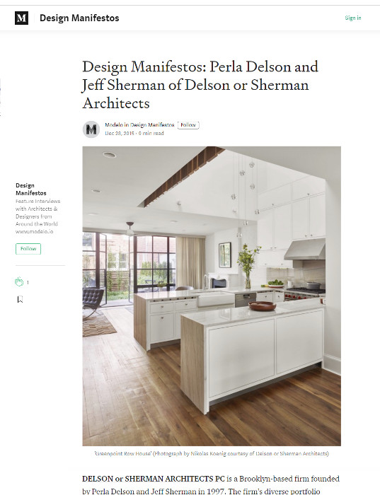 Design Manifestos: Perla Delson and Jeff Sherman of Delson or Sherman Architects