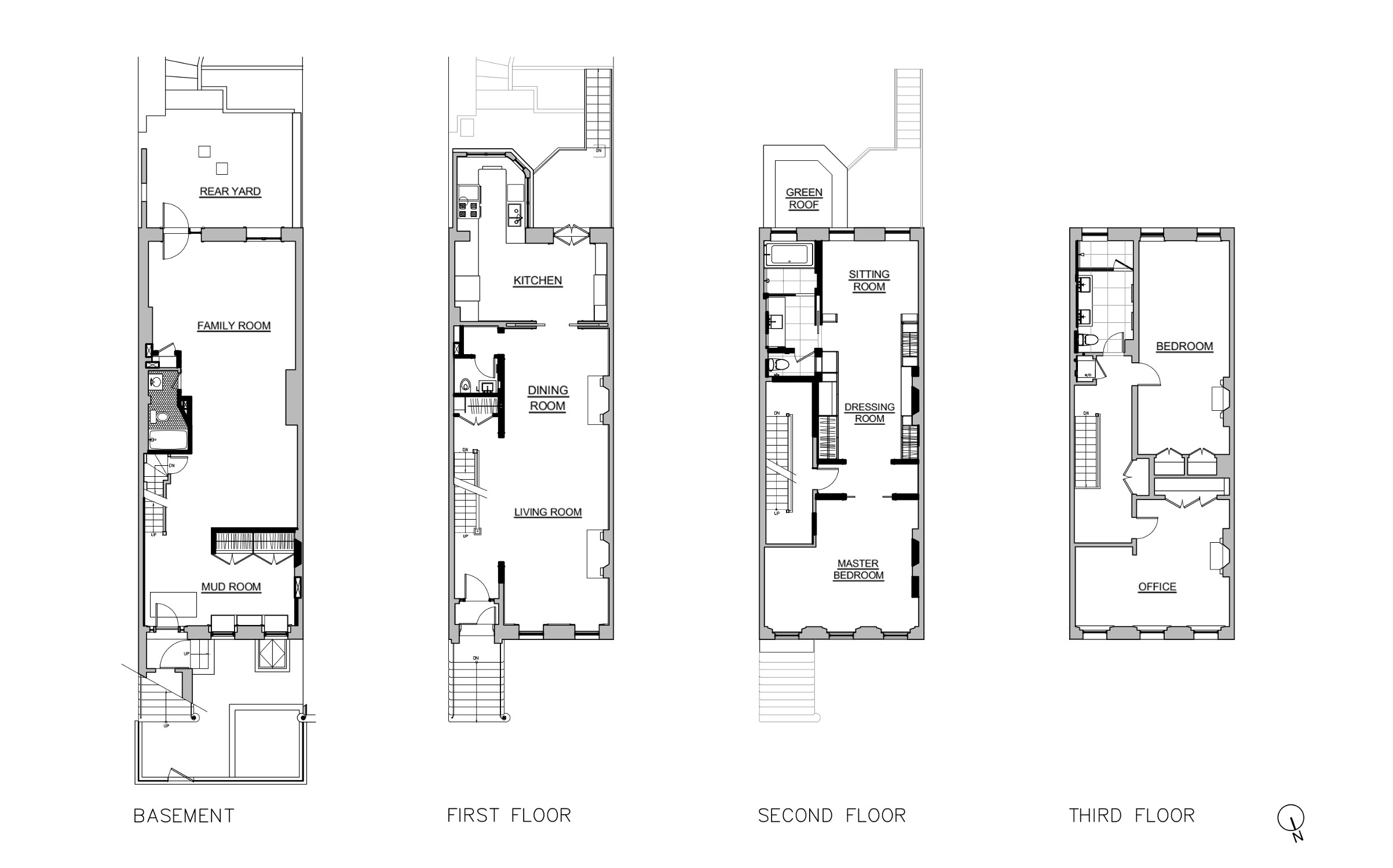 Floor plans of a Brooklyn Heights row house.