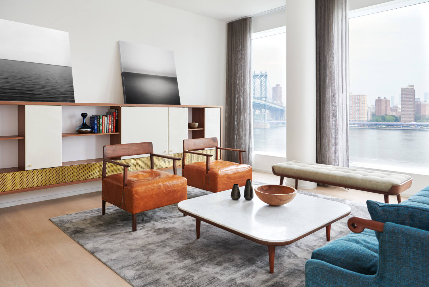 DUMBO apartment's new furnishings match the spectacular views.