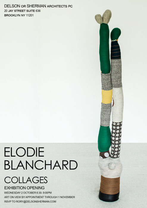 "Invitation to ""Collages"", an exhibit of textile-based art by Elodie Blanchard"