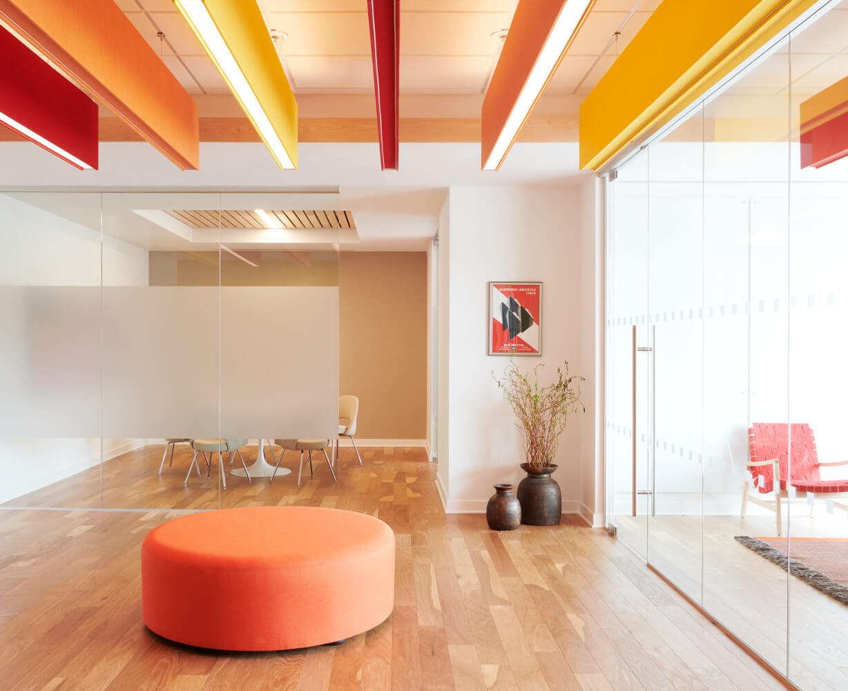 open plan with vibrant colors transforms the office space