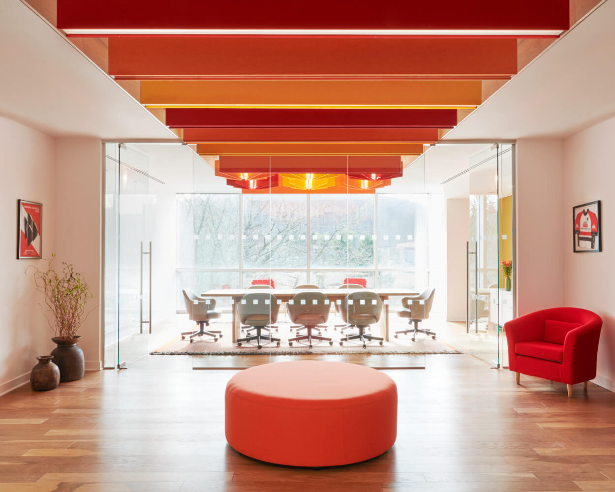 open plan with vibrant colors transforms this office space