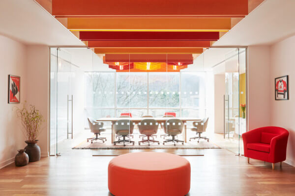 open office plan with vibrant colors