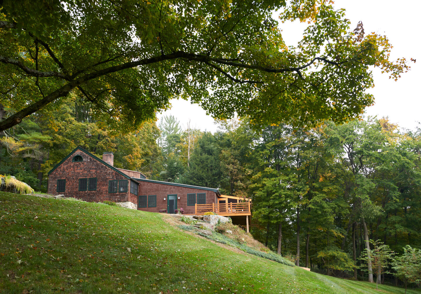 The addition becomes the new center of this Connecticut farm house