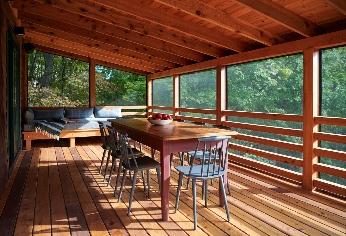 The enlarged screened porch of our Connecticut house.