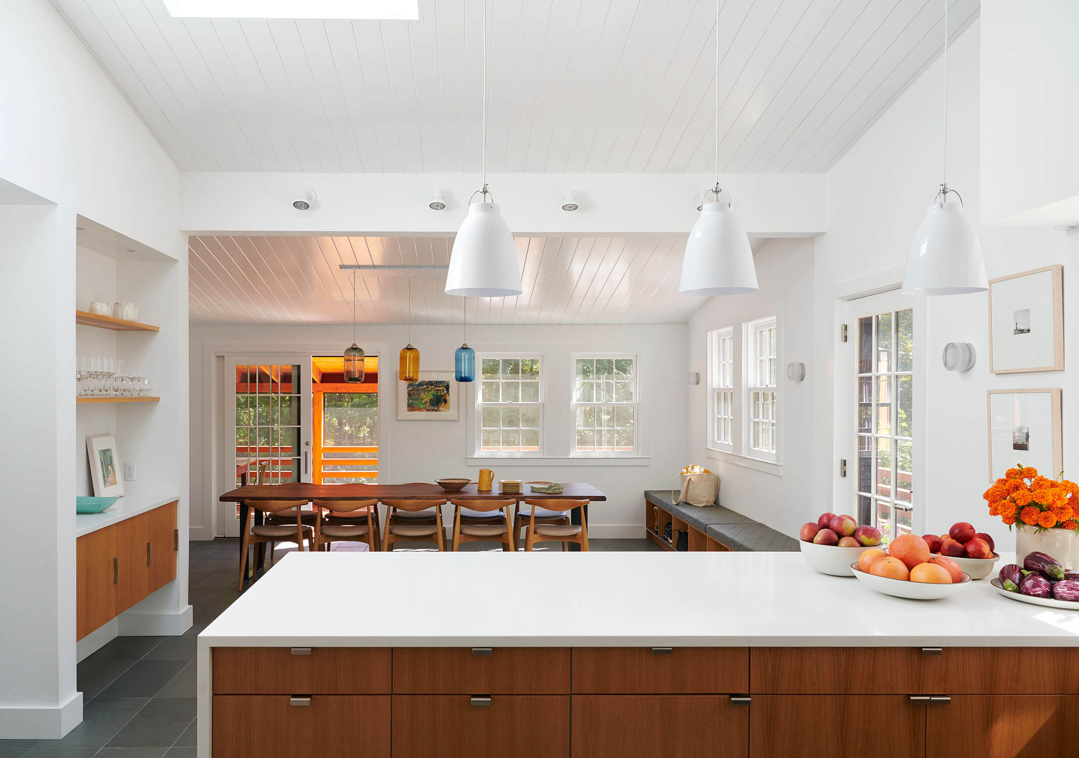 A new kitchen for multiple cooks in the addition of this CT house.